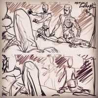 Zombies sketches 4 an illustration of Walking BED by ArtByFab