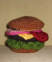 Crochet Cheeseburger by bluedesertrose