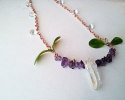 Amethyst, Quartz Point, and Leaves Bar Necklace by cranegoose