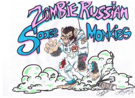 Zombie Russian Space Monkies by tat2tiger