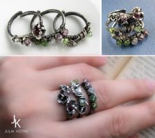 Silver stackable rings Flora by JSjewelry