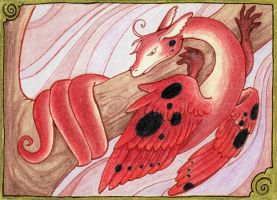 Ladybug Feather Dragon ACEO by starwoodarts