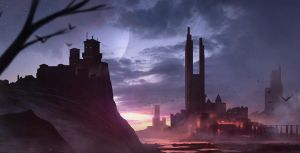 Sunset Castle-Speedpainting by GeorgeLovesyArt