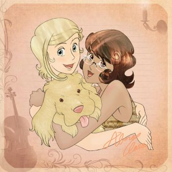 Eugenie, Lou and their puppy by AlmaClara