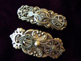 Steampunk Hair Barrettes by SteamPunkJennie
