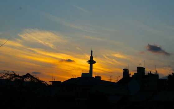Kyoto Tower at Sunset by AshleyLegit