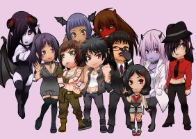Chibi Commission Thanatos and Crew by nicoyguevarra