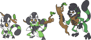 The grass starters: Twigmur, Shaamur, and Hexmuur by GalifiaStudios