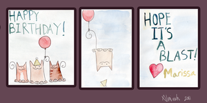 Birthday Card- Happy Cats by Almirah
