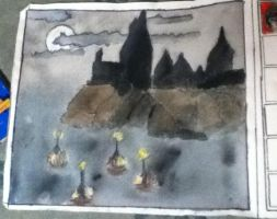 Hogwarts painting by cjbrownie