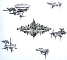 Tiny concept sketches for cities that float by TickTockMan92