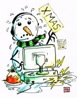 Xmas Snowman at Work by danevilparker