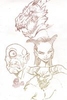 Mythical sketches by felle2thou