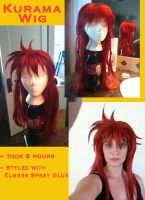 Kurama Wig WIP and Finished by crummywater