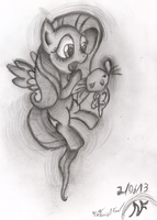 Fluttershy and Angel - Fighting is Magic by AncientOwl