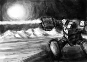 mech in mountains by greensandsguy