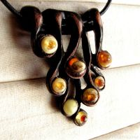 Necklace 1541 - Natural Baltic amber and Wood by AmberSculpture