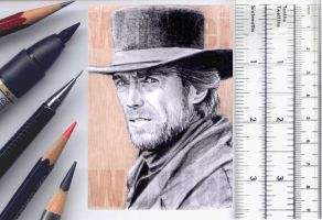 Clint Estwood sketchcard by whu-wei