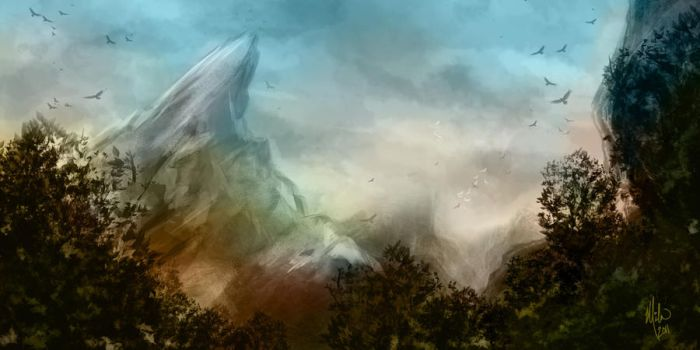 Mountains and Trees Speed Art by GenoPunk