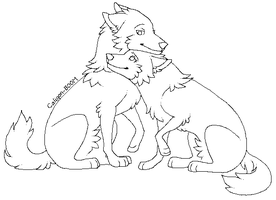 Wolf Couple Lineart by MS-Paint-Friendly