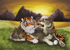 A tiger hugs a wolf by Meteor-Panda