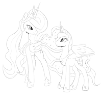 Celestia and Luna WIP by Mewyk91
