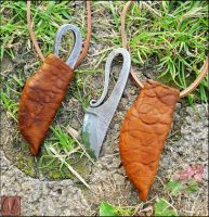 Viking neck knife sheaths by Half-Goat