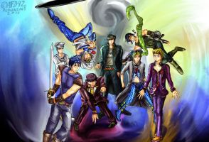 JOJO'S Bizarre Adventure : All Protagonist Team up by AFD42