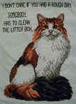 I Don't Care cat cross-stitch by lizardlea