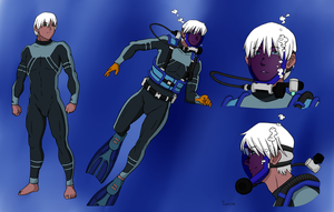 Dingo Egret Scuba Concept Sheet - Color Commission by BlueHedgehog25