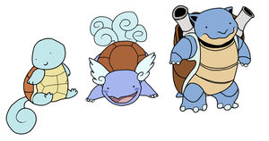 Squirtle, Wartortle, Blastoise by HappyCrumble