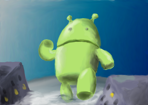 Android running through the town.... by BEEISBLUE