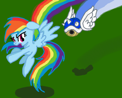 Rainbow Dash against Blue Turtleshell by Lovelye