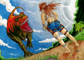 Dinosaur vs Girl by PenUser