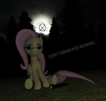 Fluttershy Plays Slender the Arrival by DBuilder