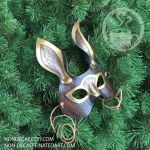 Woodgrain Steampunk rabbit mask by nondecaf