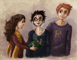 Harry Potter : The Golden Trio by Grumpy-O-Sheep