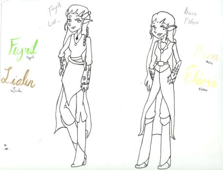 Feyril Lialen and Meira Eldove by Bloodhoundgal101