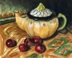 Teapot and Cherries Still Life by mbeckett