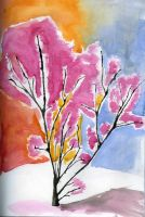 Sakura blossoms in the morning by Hatters-Workshop