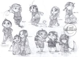 Misc. chibis in pencil by hawberries