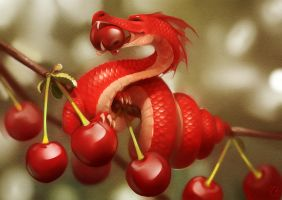 Cherry dragon by GaudiBuendia