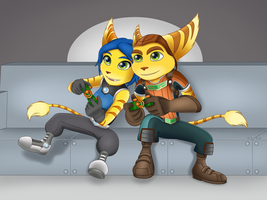 Ratchet and Donna - Game Night by SofieSpangenberg