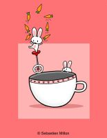 Carrot-Juggling Teacup Bunny by sebreg