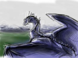 valley blue dragon-sketch-paint by AoiKita