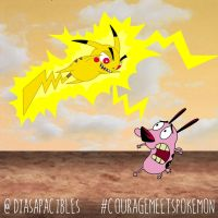 Courage meets Pikachu by diasapacibles