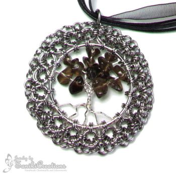 Chainmaille Framed Tree of Life Pendant by sanikicreations