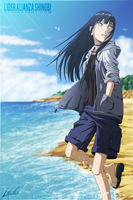 Hinata on the beach by LiderAlianzaShinobi