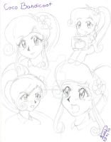 Coco Bandicoot sketch face( human anime version ) by Avril-TRON-LuKon
