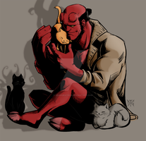 Hellboy + kittehs by DeanGrayson